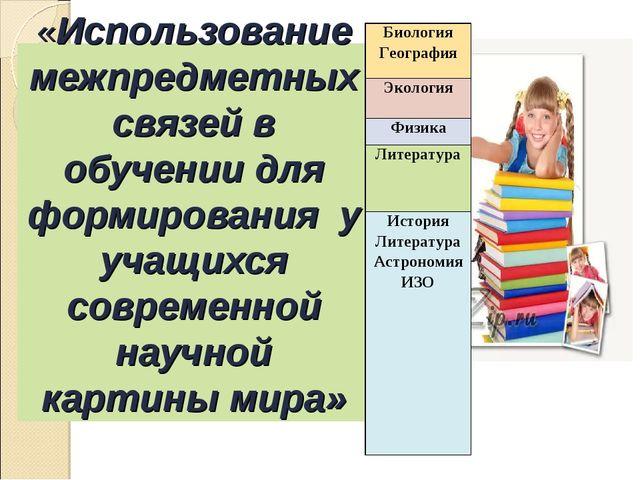 «Использование межпредметных связей в обучении для формирования у учащихся со...