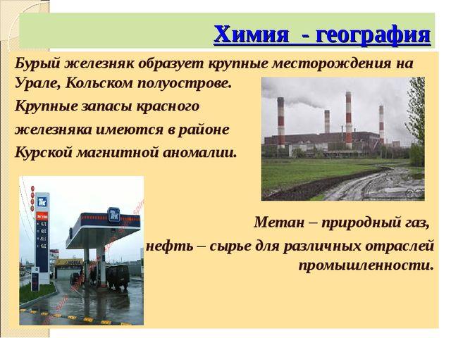 Химия - география Бурый железняк образует крупные месторождения на Урале, Кол...