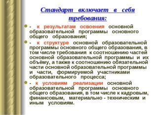 Стандарт включает в себя требования: - к результатам освоения основной образо