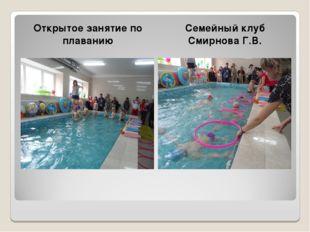 Открытое занятие по плаванию Семейный клуб Смирнова Г.В.