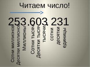 253 603 231 Читаем число! . . единицы десятки сотни тысячи Десятки тысяч Сотн