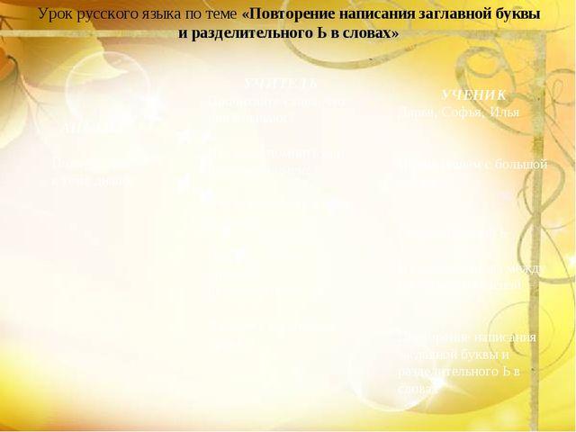 Урок русского языка по теме «Повторение написания заглавной буквы и разделите...