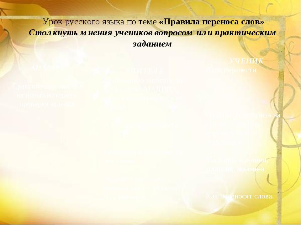 Урок русского языка по теме «Правила переноса слов» Столкнуть мнения ученико...