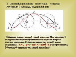 2. Спутница циклоиды - синусоида, лепестки Роберваля и площадь под циклоидой.