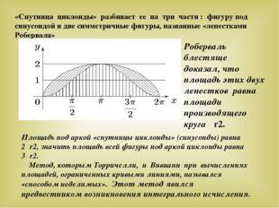 «Спутница циклоиды» разбивает ее на три части : фигуру под синусоидой и две с