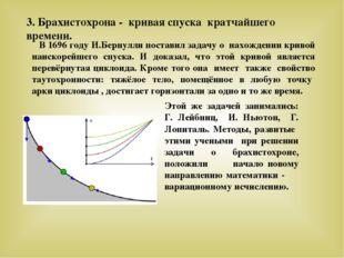 3. Брахистохрона - кривая спуска кратчайшего времени. В 1696 году И.Бернулли