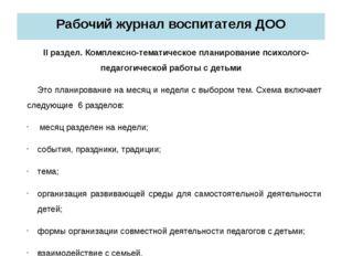 Рабочий журнал воспитателя ДОО II раздел. Комплексно-тематическое планировани