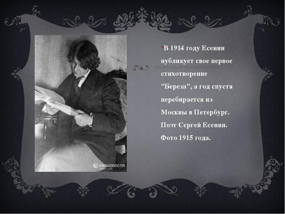 """В 1914 году Есенин публикует свое первое стихотворение """"Береза"""", а год спуст..."""