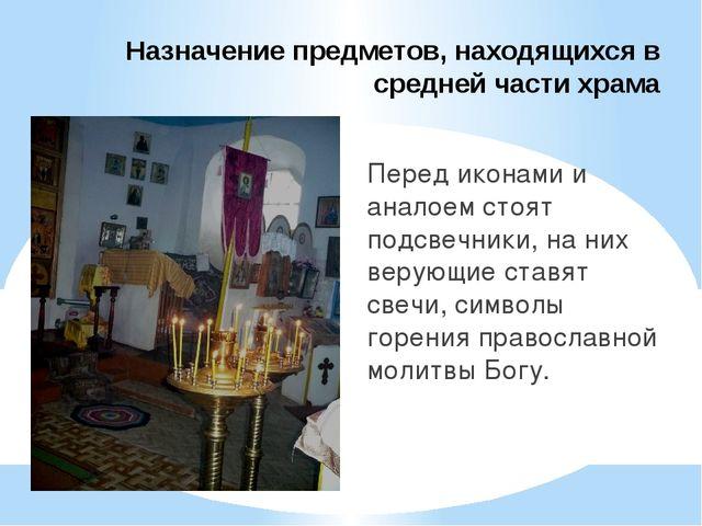 Назначение предметов, находящихся в средней части храма Перед иконами и анало...