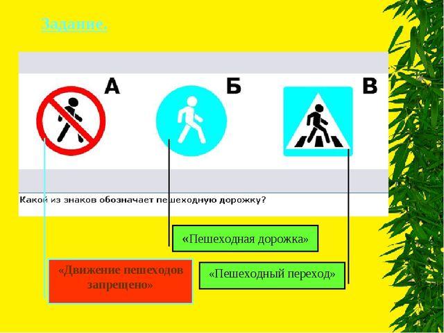 Задание. «Пешеходная дорожка» «Пешеходный переход» «Движение пешеходов запрещ...