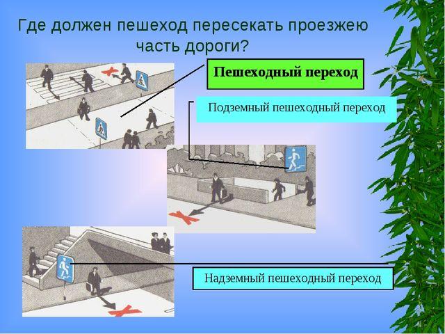 Где должен пешеход пересекать проезжею часть дороги? Пешеходный переход Подзе...