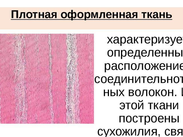 Плотная оформленная ткань характеризуется определенным расположением соедини...