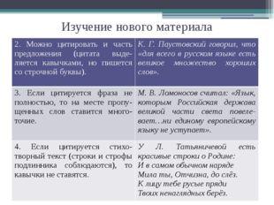 Изучение нового материала 2. Можно цитировать и часть предложения (цитатавыде