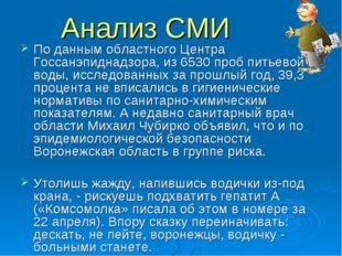 Анализ СМИ По данным областного Центра Госсанэпиднадзора, из 6530 проб питьев