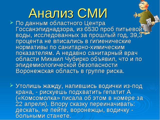 Анализ СМИ По данным областного Центра Госсанэпиднадзора, из 6530 проб питьев...