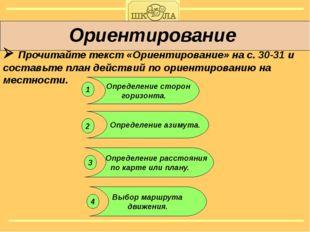 Ориентирование  Прочитайте текст «Ориентирование» на с. 30-31 и составьте п