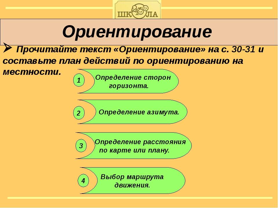 Ориентирование  Прочитайте текст «Ориентирование» на с. 30-31 и составьте п...