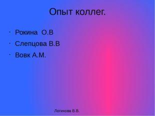 Опыт коллег. Рокина О.В Слепцова В.В Вовк А.М. Логинова В.В.