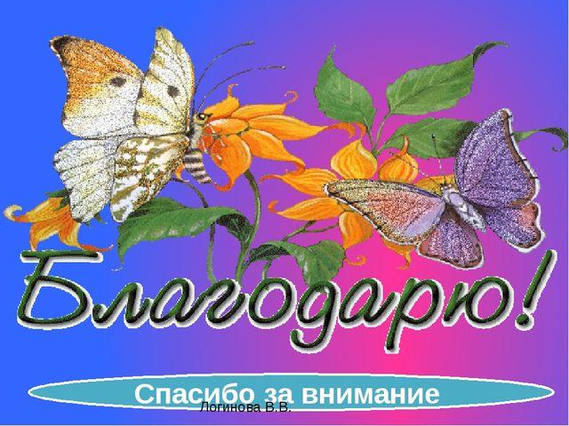 Спасибо за внимание Логинова В.В.