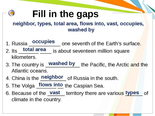 Fill in the gaps neighbor, types, total area, flows into, vast, occupies, wa...