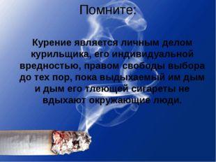 Помните: Курение является личным делом курильщика, его индивидуальной вреднос