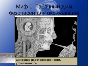 Миф 1. Табачный дым безопасен для окружающих Дым содержит 4000 вредных соедин