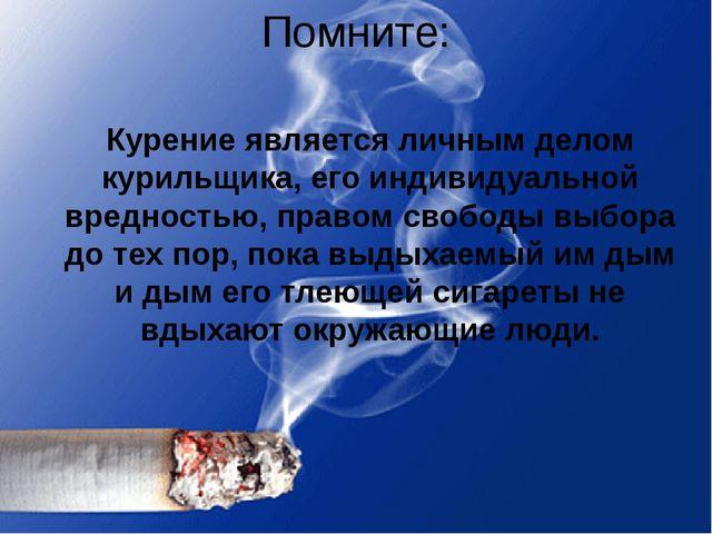 Помните: Курение является личным делом курильщика, его индивидуальной вреднос...