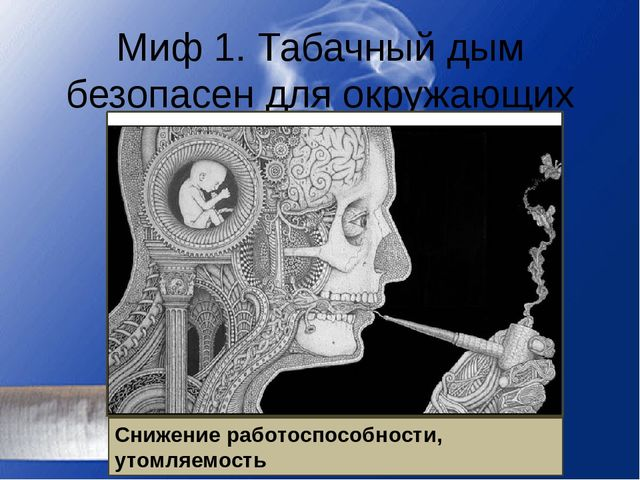 Миф 1. Табачный дым безопасен для окружающих Дым содержит 4000 вредных соедин...