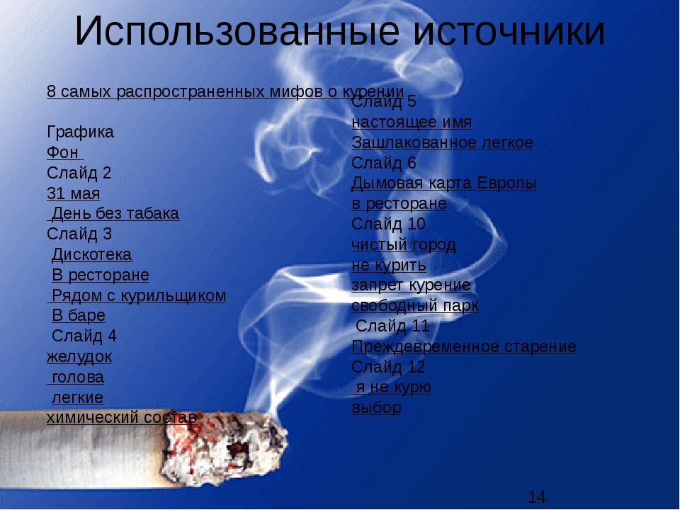 Использованные источники 8 самых распространенных мифов о курении Графика Фон...
