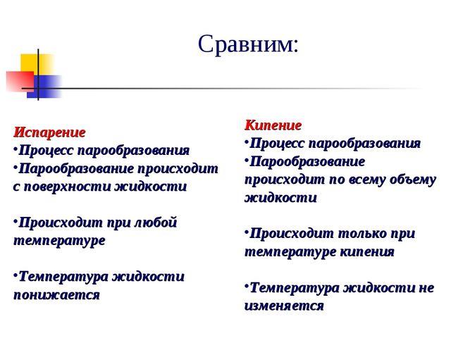 Сравним: Испарение Процесс парообразования Парообразование происходит с повер...