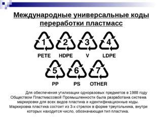 Международные универсальные коды переработки пластмасс Для обеспечения утили