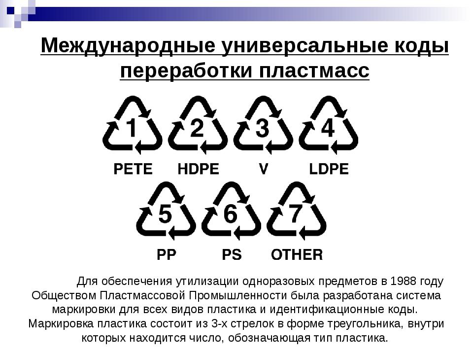 Международные универсальные коды переработки пластмасс Для обеспечения утили...