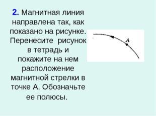 2. Магнитная линия направлена так, как показано на рисунке. Перенесите рисуно