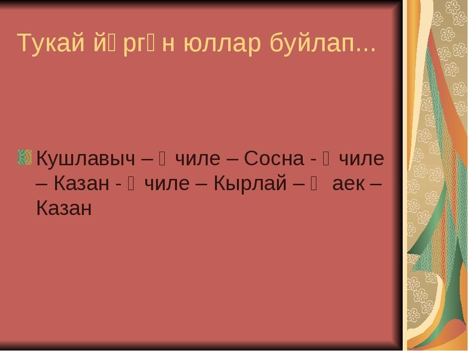 Тукай йөргән юллар буйлап... Кушлавыч – Өчиле – Сосна - Өчиле – Казан - Өчиле...