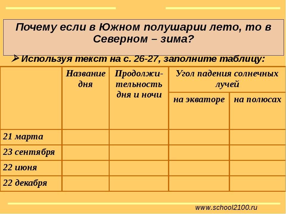 www.school2100.ru Почему если в Южном полушарии лето, то в Северном – зима?...