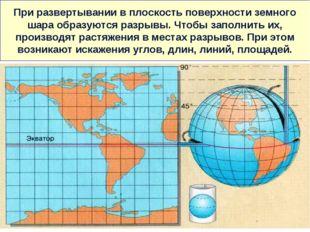 При развертывании в плоскость поверхности земного шара образуются разрывы. Чт