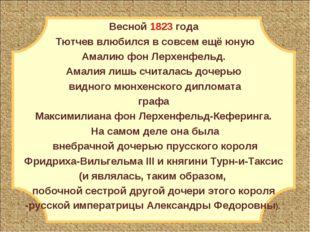 Весной 1823 года Тютчев влюбился в совсем ещё юную Амалию фон Лерхенфельд. Ам