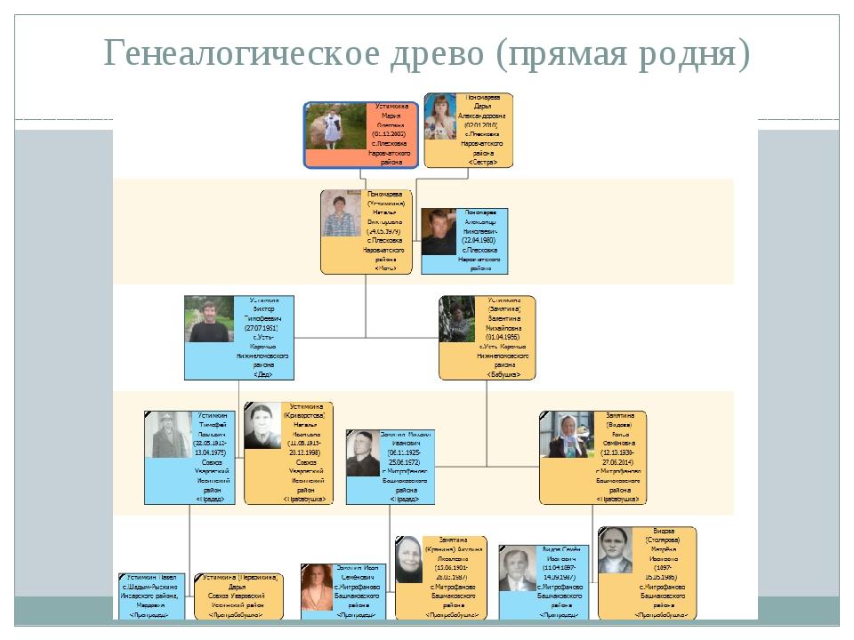Генеалогическое древо (прямая родня)