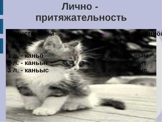 Лично - притяжательность Единственнöй число 1 л. - каньö 2 л. - каньыт 3 л. -...