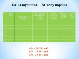 Бақылаушының бағалау парағы «5» – 20-25 ұпай «4» - 15-19 ұпай «3» - 10-14 ұп