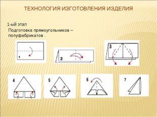 ТЕХНОЛОГИЯ ИЗГОТОВЛЕНИЯ ИЗДЕЛИЯ 1-ый этап Подготовка прямоугольников – полуфа