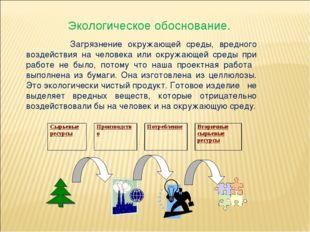 Экологическое обоснование. Загрязнение окружающей среды, вредного воздействи