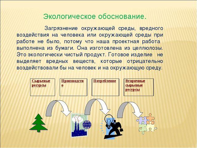Экологическое обоснование. Загрязнение окружающей среды, вредного воздействи...