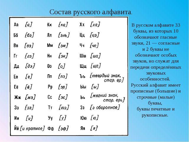 В русском алфавите 33 буквы, из которых 10 обозначают гласные звуки, 21 — сог...