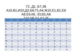 Г2, Д1, Б7,З8 А10,В1,И10,Д3,Б8,Г5,А4,Ж10,Е1,В1,Е6 А8,Е6,К6, З3,В2,А8 А10,И5,Е