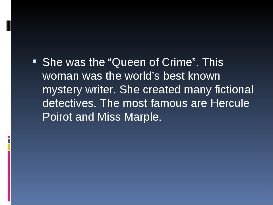 "She was the ""Queen of Crime"". This woman was the world's best known mystery w..."