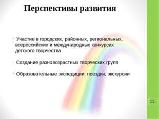 Перспективы развития Участие в городских, районных, региональных, всероссий