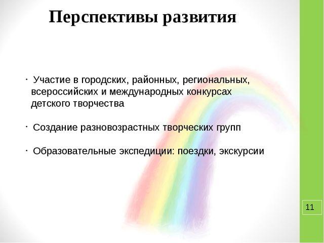 Перспективы развития Участие в городских, районных, региональных, всероссий...
