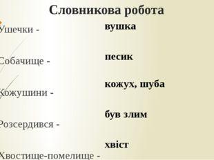 Словникова робота Ушечки - Собачище - Кожушини - Розсердився - Хвостище-помел