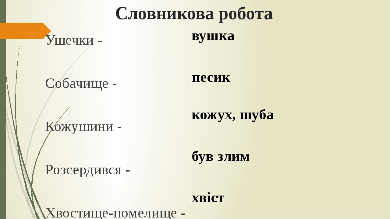 Словникова робота Ушечки - Собачище - Кожушини - Розсердився - Хвостище-помел...